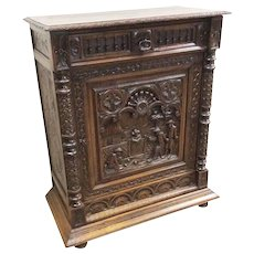 Charming Antique French Breton Cabinet, Oak, 1900's, Nice chest size