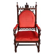 BEAUTIFUL Antique French Gothic Arm Chair The BEST Quality Walnut 19th Century