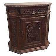 Antique French Breton Cabinet, Intricate carvings, Circa 1900's, Oak
