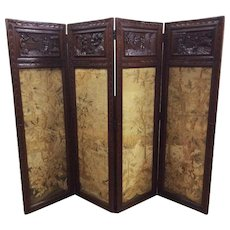 Antique French Breton folding Screen with Needlepoint, Oak
