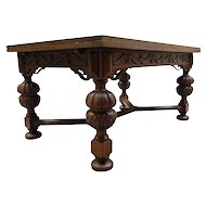 Attractive Vintage French Tudor Dining Table, Oak, 1940's