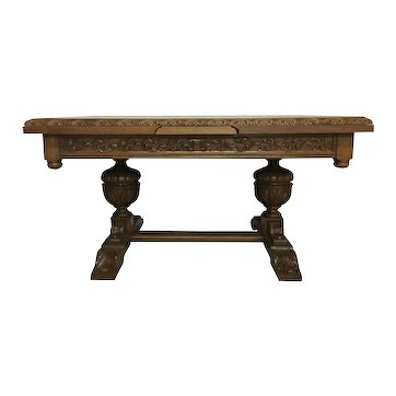 French Antique Tudor Dining Table with Pull Out Leaves, 1920's, Oak #8430