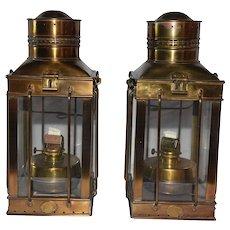 Matching Pair of English Maritime Brass Ships Lanterns