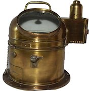 Vintage Ships Compass Binnacle with Oil Lamp, Nautical