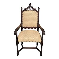 Charming Antique French Gothic Arm Chair, Oak, 19th Century