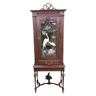 Lovely Antique Hand Painted French China Cabinet, Oak, Turn of Century
