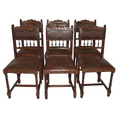 Set of Six French Henry II Dining chairs, Walnut, Pressed Leather
