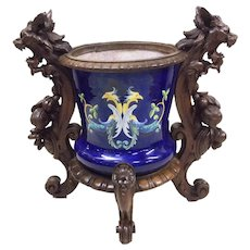 Superb Antique Italian Majolica Cachepot Vase in Wooden Frame, 19th Century, Oak