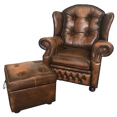 Vintage French Brown Leather Arm Chair with Ottoman, 1960's, Tufted