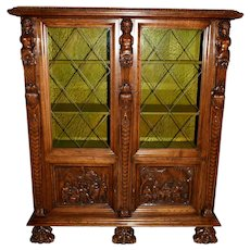 Vintage Bruegel China Cabinet, Bookcase or Display Cabinet, 1950's Oak