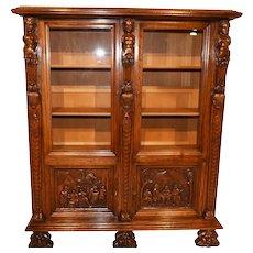 Vintage Bruegel China Cabinet, Bookcase or Display Cabinet, 1950's Oak