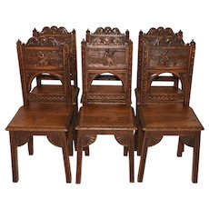 Terrific Set of Six Vintage French Breton Dining Chairs, Oak, 1940's