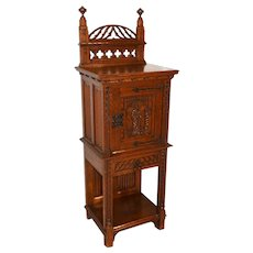 Antique French Gothic Cabinet, Narrow Model, 19th Century, Oak