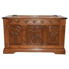 Attractive French Gothic Trunk, 1920's, Oak