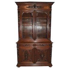 Magnificent Hunt Cabinet or Bookcase, Circa 1890's, Oak