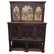 Very Special Antique Gothic Cabinet with Tapestry, 19th Century, Oak