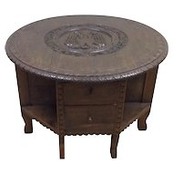 Appealing French Renaissance Coffee Table, Double Headed Eagle, Oak, 1920's