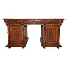 Antique French Renaissance Partners Desk, Oak, 1900-20's