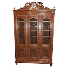Unique Antique French Breton Cabinet or Bookcase, Oak, 19th Century