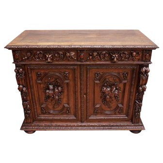 Beautifully Carved Antique French Hunt Server, Oak, 19th Century