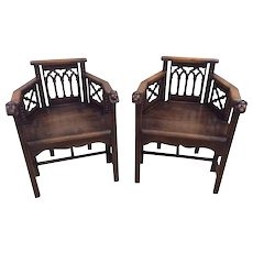 Terrific Pair of French Gothic Arm Chairs, Whimsical, Oak