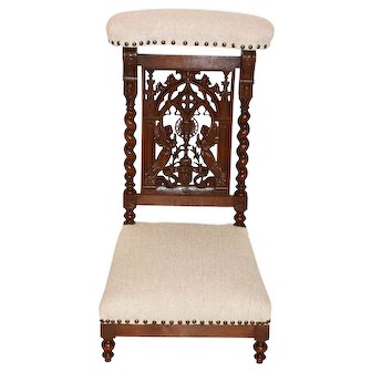 Lovely Antique French Gothic Prayer Chair, Kneeler, Late 19th Century, Religious