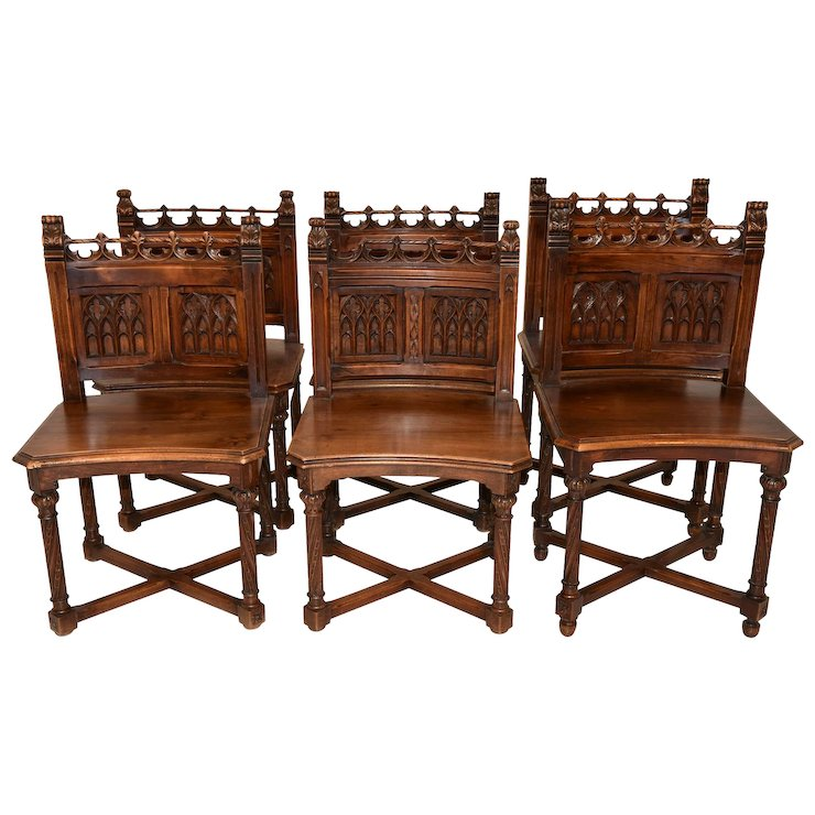Special Set of Antique French Gothic Chairs, Walnut, 19th Century - Special Set Of Antique French Gothic Chairs, Walnut, 19th Century