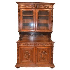 Excellent Antique French Hunt Cabinet, Nicely Carved Details, 19th Century, Oak