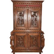Impressive Antique French Breton Cabinet with Large Carved Figures, Oak, 19th Century, Lots of Storage