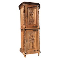 Special Vintage French Gothic Storage Cabinet, Circa 1920's, Oak