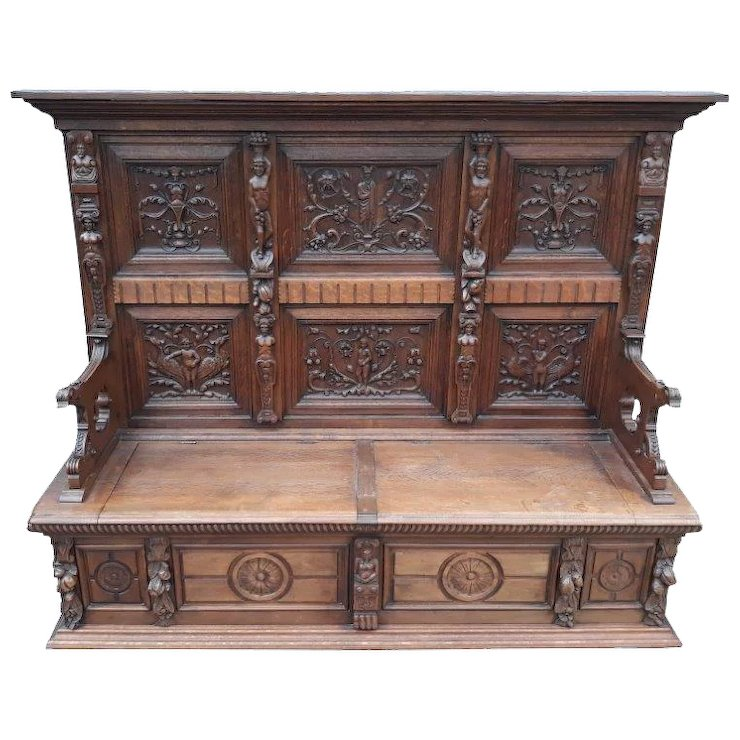 Fantastic Antique French Renaissance Bench, Great Carvings, Oak, 1900u0027s