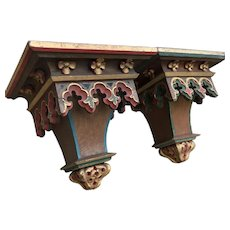 Attractive Pair of Painted Antique Gothic Wall Consoles or Shelves, 19th Century