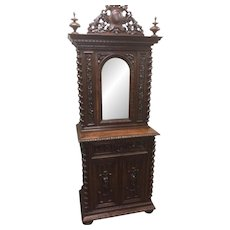 Striking French Oak Hunt Cabinet, Barley Twist, Tall Finials and Crown, 19th Century