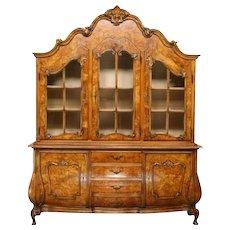Fantastic Italian Chippendale Bookcase, Bombe Style, Walnut Burlwoods