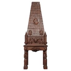 Antique French Gothic Fireplace Mantel with Over Mantel, Oak, 19th Century