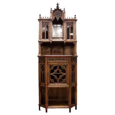 Outstanding Antique French Gothic Display Cabinet, Walnut, 19th Century