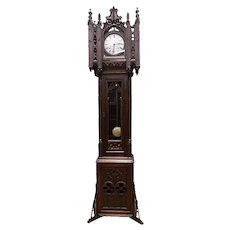 Antique French Gothic Grandfather Clock (Long Case), Tall Spires