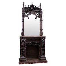 Grandiose Antique French Gothic Fireplace Mantel with Large Mirror Over Mantel