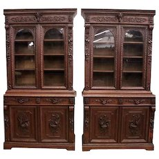 Unusual Find, Pair of Hunt Cabinets with Bird & Squirrel Carvings, 19th Century, Oak