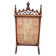 Lovely Antique French Gothic Needle Point Firescreen