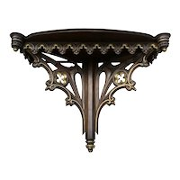 Exceptionally Large 49 Wide Antique French Gothic Wall Console