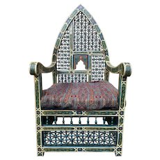 Beautifully Crafted Vintage Syrian Arm Chair with Gothic Style, 1920's