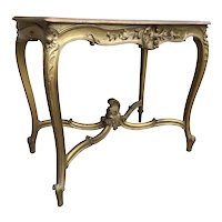 Antique French Louis XV Table, Gold Gilded with Original Art, 1920's, Oak,