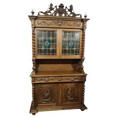 Handsome Antique French Hunt Cabinet with Leaded Glass, Oak, 19th Century