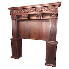 French Gothic Fireplace Surround Architectural Feature, 1920's