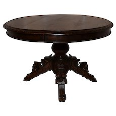 Marvelous French Hunt Coffee Table, Gargoyles, Oak, 19th Century