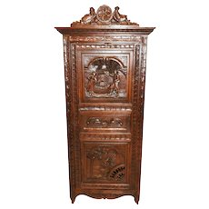Nice Narrow Antique French Breton Cabinet, 1900's, Oak