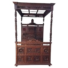 Grandiose Antique French Breton Canopy Bed & Nightstand, Oak