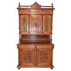 Clean French Renaissance Henry II Cabinet, Leaded Glass Panels, 19th Century, Oak, Value Priced