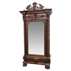 Handsome Antique French Renaissance Mirrored Armoire, 19th Century, Oak